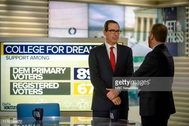 "Pictured: Moderator Chuck Todd and Treasury Secretary Steven Mnuchin appear on ""Meet the Press"" in Washington, D.C., Sunday September 22, 2019."
