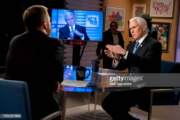 """Pictured: -- Moderator Chuck Todd and U.S. Vice President Mike Pence appears in a pre-taped interview on Meet the Press"""" in Washington, D.C.,..."""