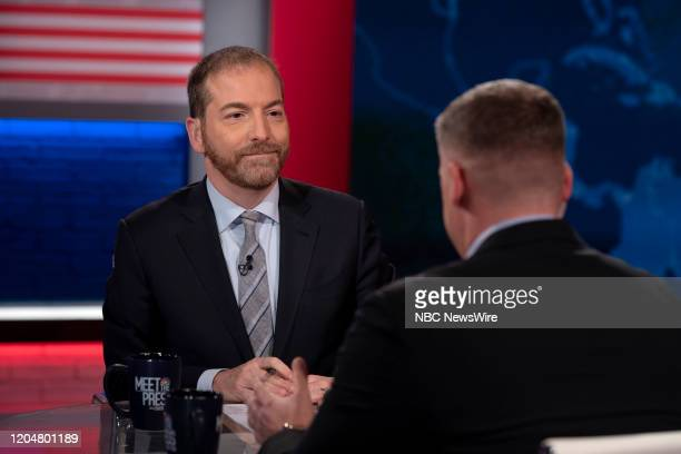 """Pictured: Moderator Chuck Todd appears on ?Meet the Press"""" in Studio 6A at Rockefeller Center in New York, NY., Sunday, March 1, 2020 --"""