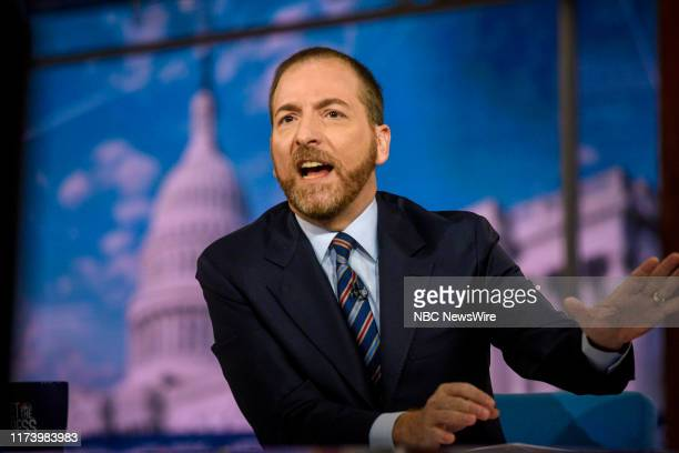 """Pictured: Moderator Chuck Todd appears on """"Meet the Press"""" in Washington, D.C., Sunday October 6, 2019."""