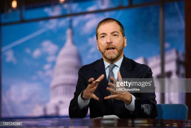 Moderator Chuck Todd appears on Meet the Press in Washington DC Sunday Feb 16 2020