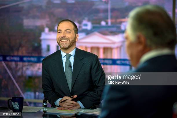 """Pictured: -- Moderator Chuck Todd appears on Meet the Press"""" in Washington, D.C., Sunday, March 8, 2020."""