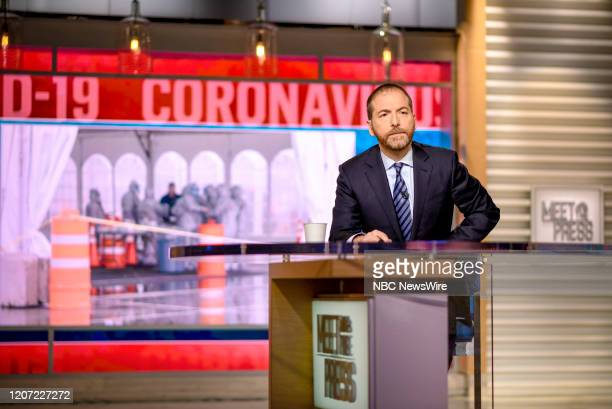 """Pictured: -- Moderator Chuck Todd appears on Meet the Press"""" in Washington, D.C., Sunday, March 15, 2020."""