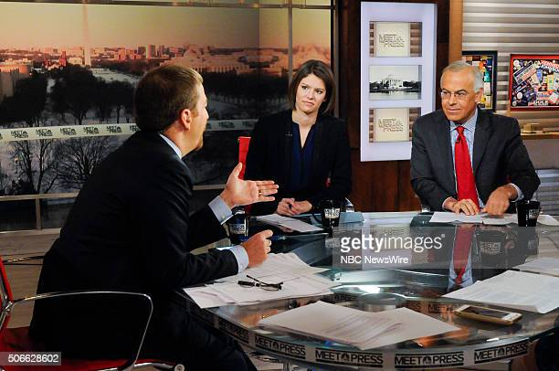 Moderator Chuck Todd Kasie Hunt NBC News Political Correspondent and David Brooks Columnist The New York Times appear on Meet the Press in Washington...