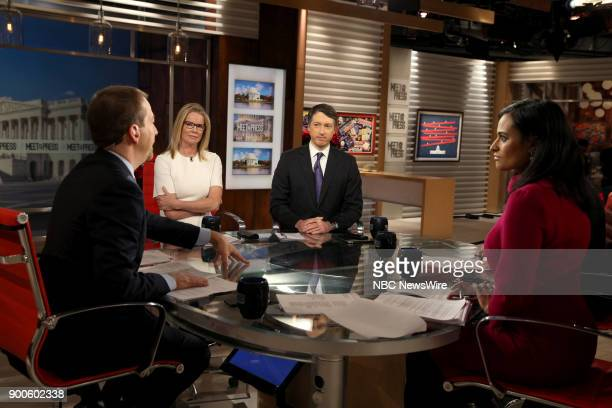 Moderator Chuck Todd Katty Kay Rich Lowry and Kristen Welker appear on Meet the Press in Washington DC Sunday Dec 31 2017