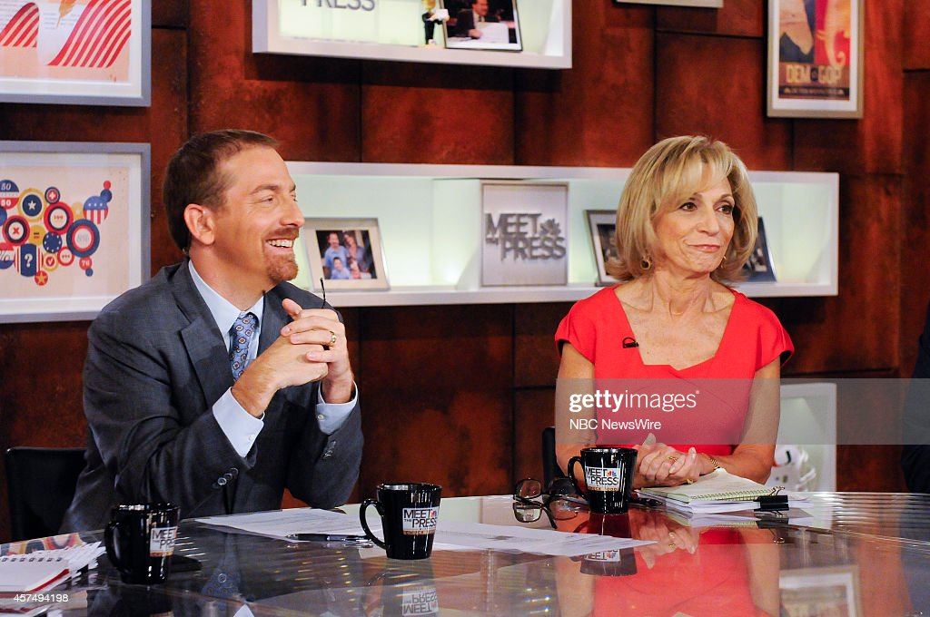 Moderator Chuck Todd, left, and Andrea Mitchell, NBC News Chief Foreign Affairs Correspondent, right, appear on 'Meet the Press' in Washington, D.C., Sunday, Oct. 19, 2014.