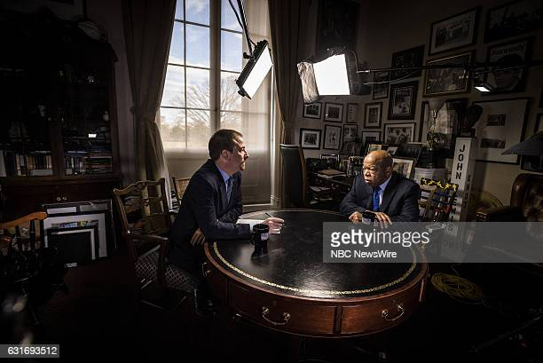 Moderator Chuck Todd left and Rep John Lewis right appear in a pretaped interview on 'Meet the Press' in Washington DC Friday January 13 2017