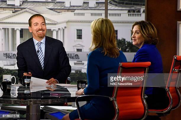 Moderator Chuck Todd Sara Fagen Contributor CNBC and Ruth Marcus Columnist Washington Post appear on Meet the Press in Washington DC Sunday Oct 9 2016