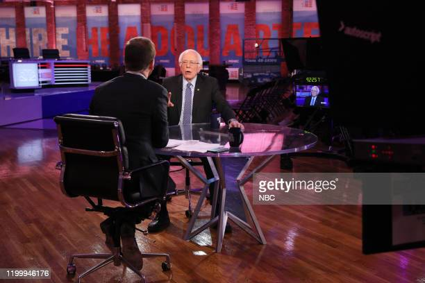 Moderator Chuck Todd Senator Bernie Sanders appear on Meet the Press at The Armory Ballroom in Manchester New Hampshire on Sunday February 9 2020