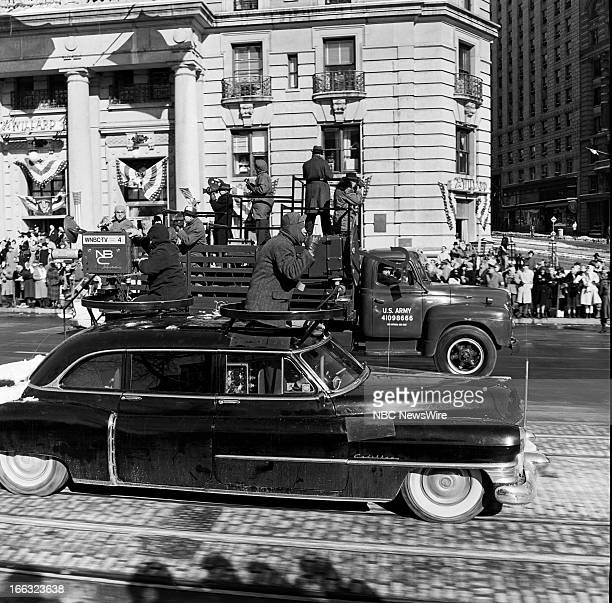 Motorcade during the inaugural parade at the Inauguration of President John F Kennedy on January 20 1961 in Washington DC