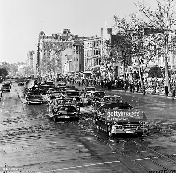 Motorcade with President elect John F Kennedy during the inaugural parade at the Inauguration of President John F Kennedy on January 20 1961 in...