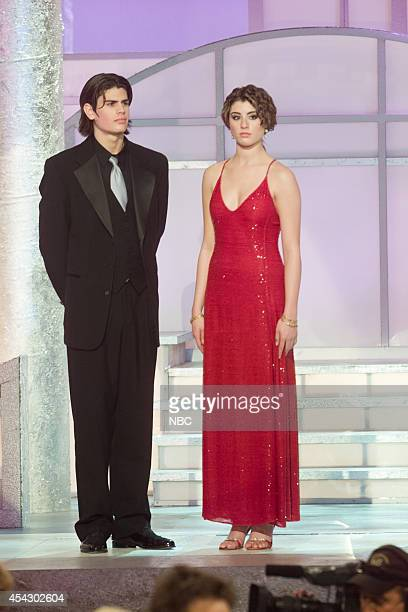 Mr and Miss Golden Globe AJ Lamas and Dominik GarciaLorido are seen on stage at the 60th Annual Golden Globe Awards held at the Beverly Hilton Hotel...