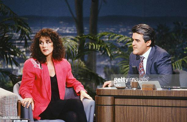 Musical guest Celine Dion during an interview with guest host Jay Leno on January 29 1991