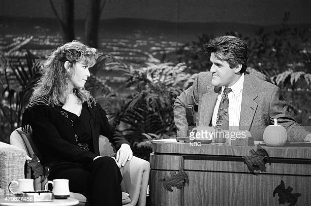 Musical guest Patty Loveless during an interview with guest host Jay Leno on October 30 1990