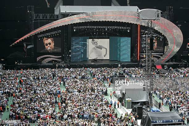 Musician Elton John performs on stage at the 'Concert for Diana' held at Wembley Stadium Wembley London England on July 1 2007 Photo by Helen...
