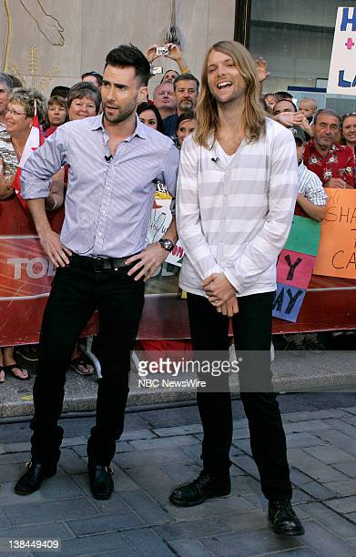 Musicians Adam Levine and James Valentine of Maroon 5 live outside the studio at NBC News' TODAY on July 12 2007