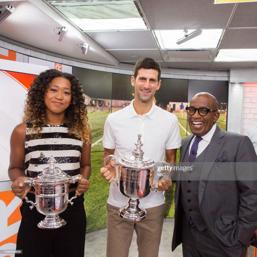Naomi Osaka, Novak Djokovic and Al Roker on Monday, September 10, 2018 --
