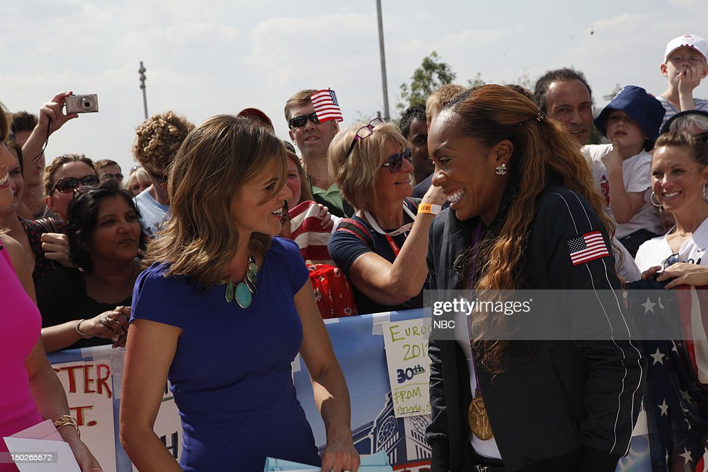 Natalie Morales, Sanya Richards on August 9, 2012 --