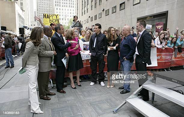 National Correspondent Natalie Morales Weather and Feature Reporter Al Roker and CoAnchors Matt Lauer and Meredith Vieira speak to actors Ioan...