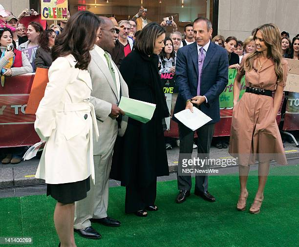 National Correspondent Natalie Morales Weather and Feature Reporter Al Roker News Anchor Ann Curry CoAnchor Matt Lauer and actress Jessica Alba speak...