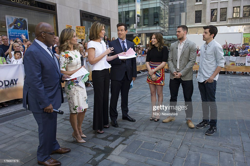 NBC News' Al Roker, Natalie Morales, Savannah Guthrie, Carson Daly, Chloe Grace Moretz, Aaron Taylor-Johnson, and Christopher Mintz-Plasse appear on NBC News' Today show on July 29, 2013 --