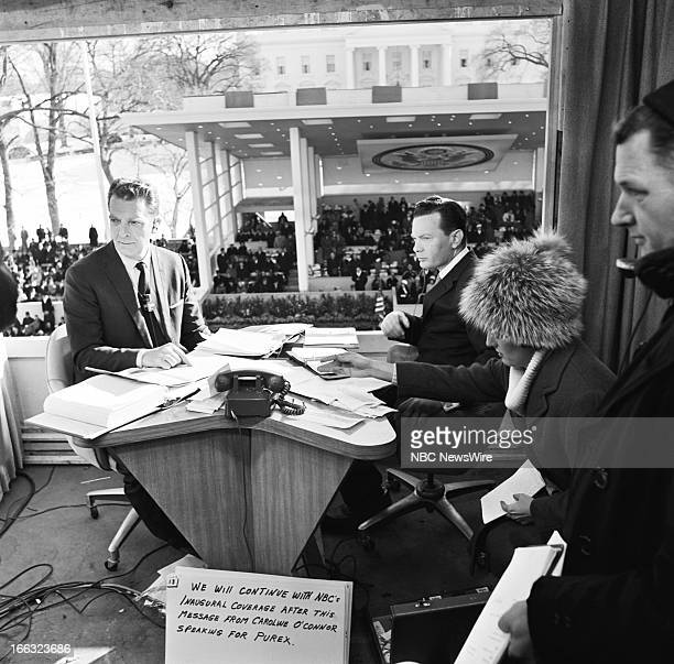 NBC News' Chet Huntley David Brinkley at the Inauguration of President John F Kennedy on January 20 1961 in Washington DC