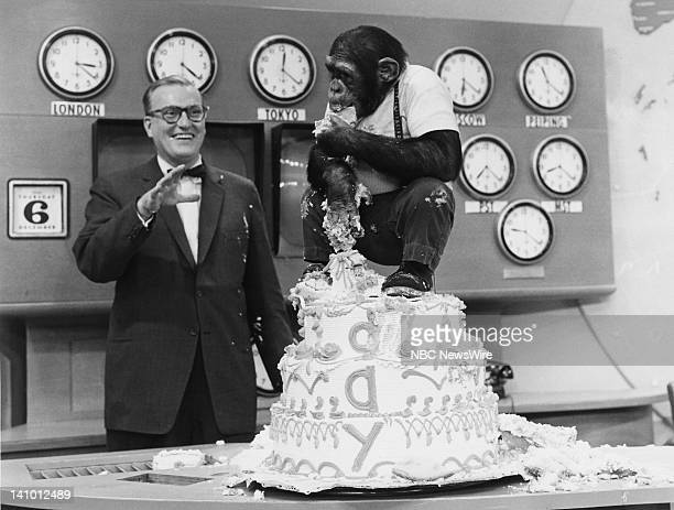 NBC News' Dave Garroway J Fred Muggs the chimpanzee celebrate the 5th Anniversary of TODAY on January 14 1957 Photo by NBC/NBC NewsWire