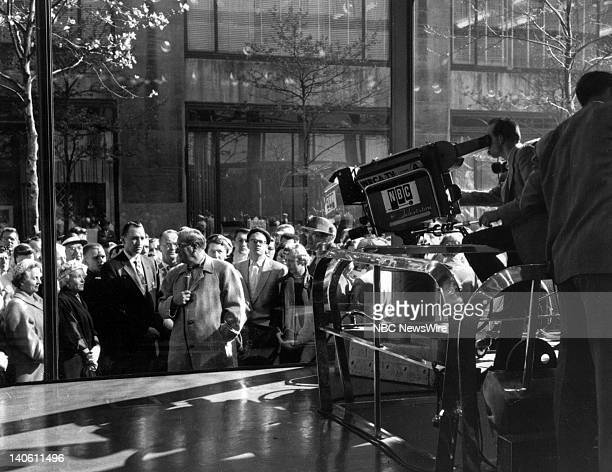 NBC News' Dave Garroway reporting outside on the street in front of the TODAY studio in May 1956 Photo by NBC/NBC NewsWire