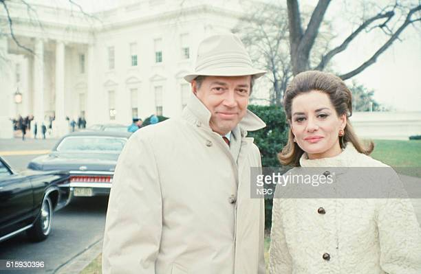 Pictured: NBC News' Hugh Downs, Barbara Walters covering the 1st Presidential inauguration of Richard Nixon on January 20, 1969 in Washington, D.C. --
