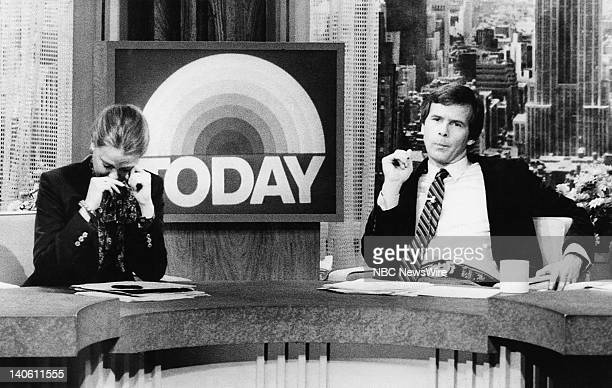 NBC News' Jane Pauley Tom Brokaw on December 9 1980 during a memorial tribute to musician John Lennon who was shot and killed the day before Photo by...