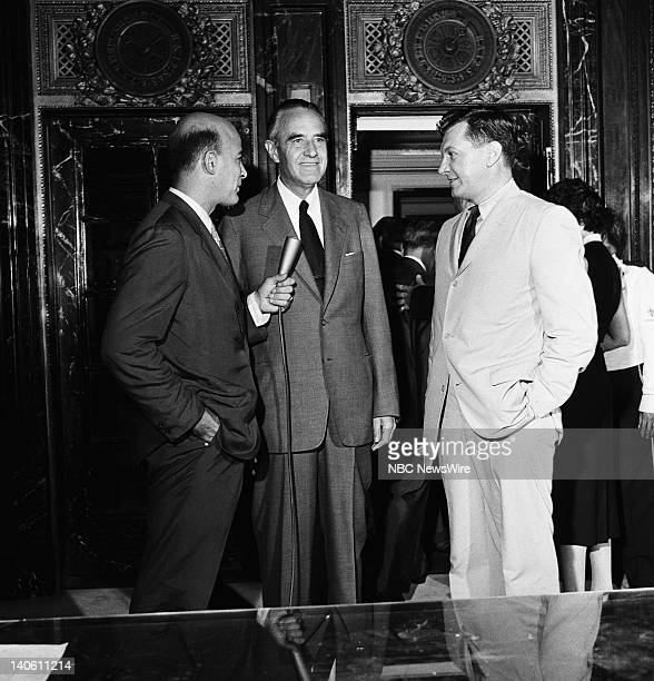 Pictured: NBC News' Joe Michaels, democractic presidential candidate New York Governor W. Averell Harriman, NBC News' Paul Cunningham in the lobby of...