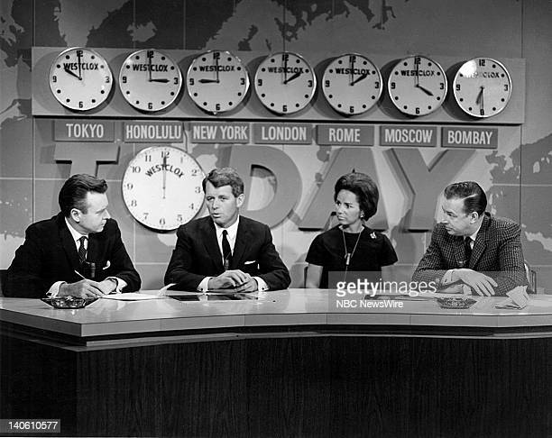 NBC News' Merrill Red Mueller Attorney General Robert F Kennedy wife Ethel Kennedy NBC News' Hugh Downs during Kennedy's Senate campaign in 1964...