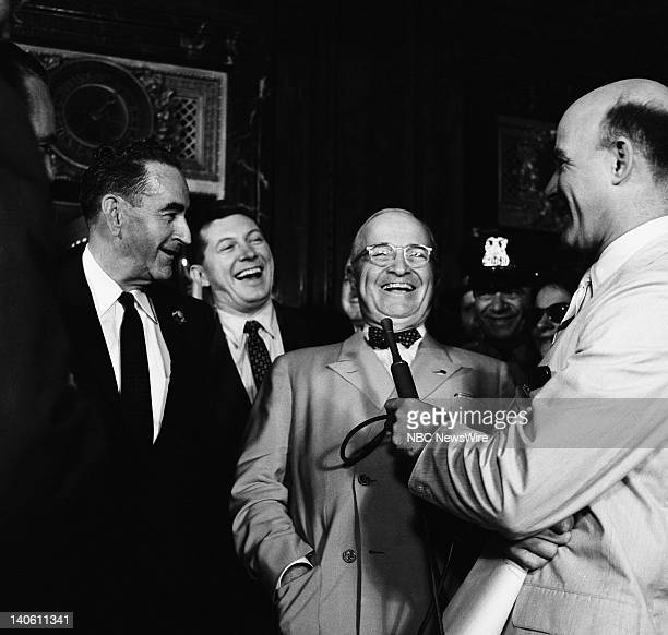 Pictured: NBC News' Paul Cunningham , Former President of the United States Harry S. Truman, NBC News' Joe Michaels at the 1956 Democratic National...