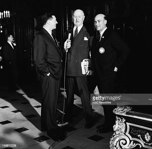 Pictured: NBC News' Paul Cunningham , NBC News' Joe Michaels during an interview in the lobby of the Sheraton Blackstone during the 1956 Democratic...