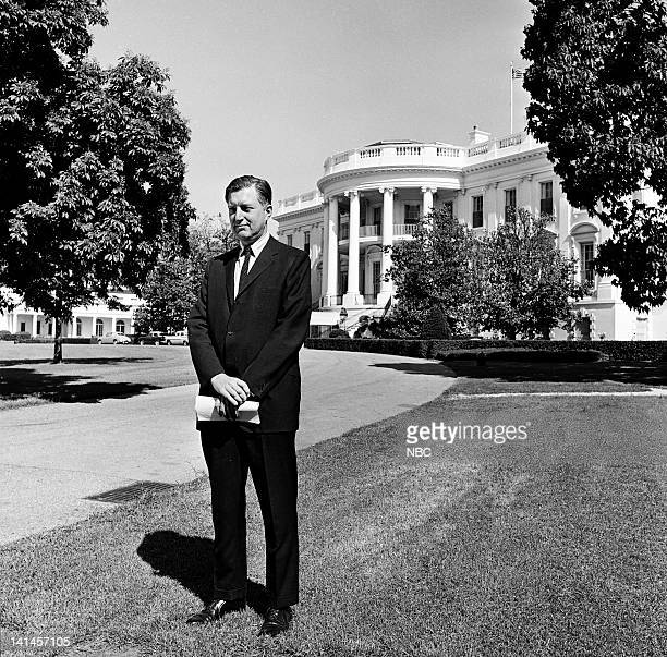 NBC News' Ray Scherer in front of the White House in Washington DC in 1961