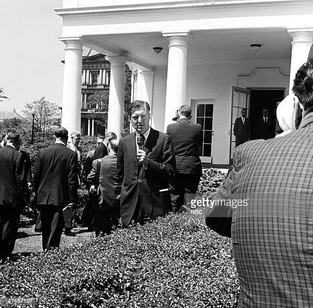 NBC News' Ray Scherer reports as President John F Kennedy and Vice President Lyndon B Johnson arrive for a press conference on the lawn of the White...