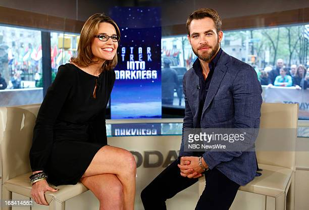 NBC News' Savannah Guthrie and actor Chris Pine appear on NBC News' Today show on May 9 2013