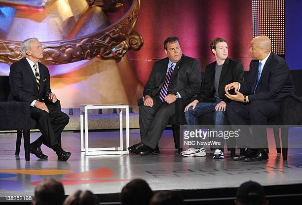 NBC News' Tom Brokaw interviews New Jersey Governor Chris Christie Facebook CEO Mark Zuckerberg and Newark Mayor Cory Booker during EDUCATION NATION...