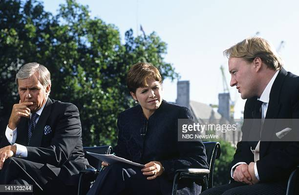 NBC News' Tom Brokaw Katie Couric London Sunday Times' Andrew Brown covering the funeral of Princess Diana of Wales on September 6 1997 in London...