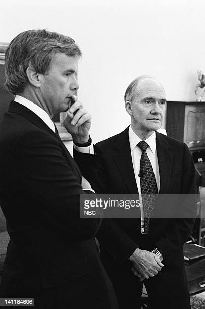 NBC News' Tom Brokaw United States National Security Advisor Brent Scowcroft at the White House in Washington DC on February 27 1990