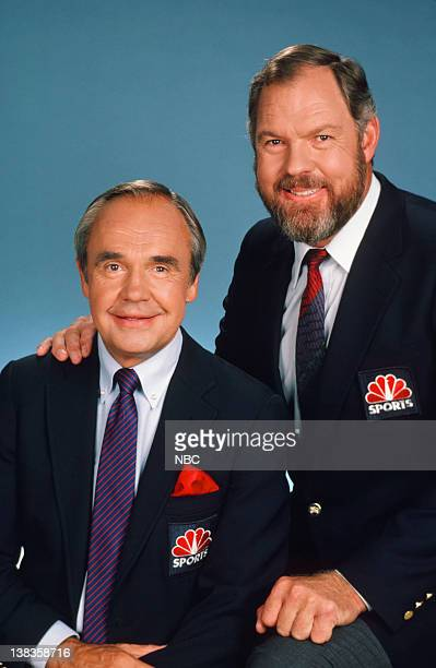 NBC Sports' announcers Dick Enberg Merlin Olsen in 1986