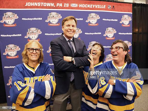 NBC Sports Bob Costas with the Hanson Brothers from Slap Shot from left Jeff Carlson Bob Costas Steve Carlson and David Hanson during the Kraft...