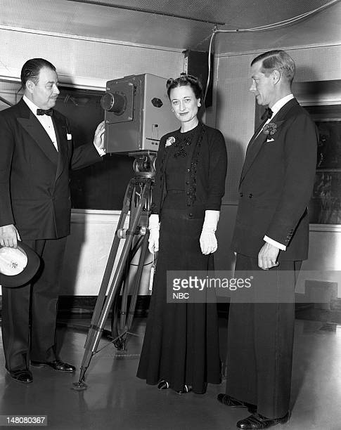NBC's Clay Morgan Duchess of Windsor Wallis Simpson Duke of Windsor Edward VIII during a visit to NBC Studios in New York NY on their trip to the...