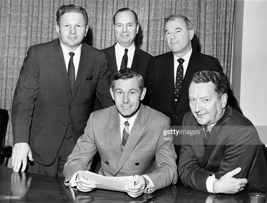 NBC's senior vice president for programming and talent Mort Werner, host Johnny Carson, NBC Chairman Walter D. Scott, Tonight Show producer Art Stark, NBC president Julian Goodman during a signing of Johny Carson's Tonight Show contract in 1966 --