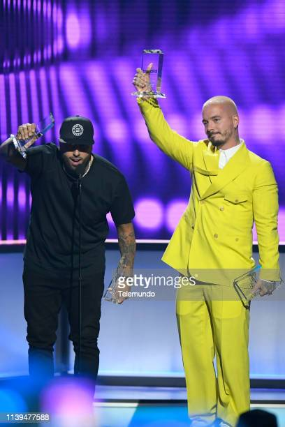 "Pictured: Nicky Jam and J Balvin, winners of the ""Airplay Song of the Year"" award, speak at the Mandalay Bay Resort and Casino in Las Vegas, NV on..."