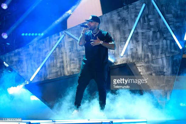 Nicky Jam performs during rehearsals at the Mandalay Bay Resort and Casino in Las Vegas NV on April 24 2019