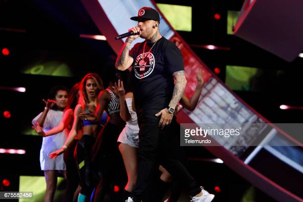 Nicky Jam performs during rehearsals at the Watsco Center in the University of Miami Coral Gables Florida on April 26 2017