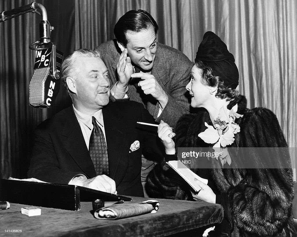 Nigel Bruce as Doctor Watson, Basil Rathbone as Sherlock Holmes, Irene Rich during a Sherlock Holmes rehearsal in 1941 -- Photo by: NBC/NBCU Photo Bank