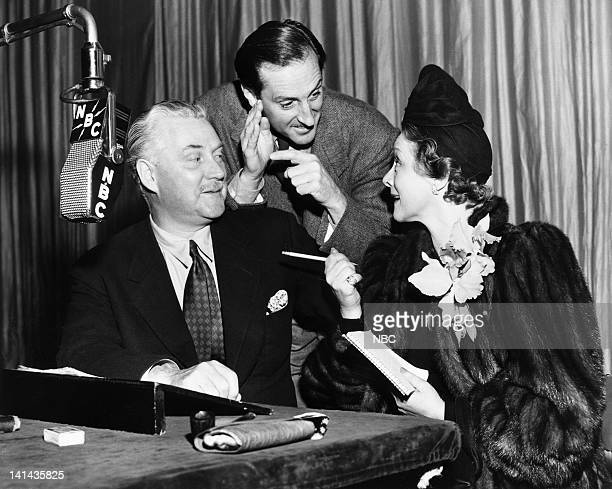 Nigel Bruce as Doctor Watson Basil Rathbone as Sherlock Holmes Irene Rich during a Sherlock Holmes rehearsal in 1941 Photo by NBC/NBCU Photo Bank