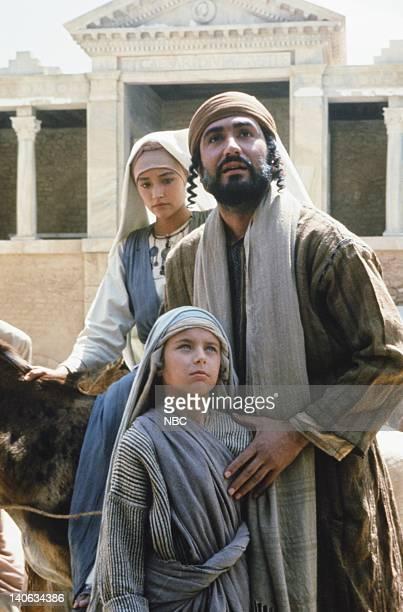 Olivia Hussey as Mary the mother of Jesus Lorenzo Monet as Jesus aged 12 years Yorgo Voyagis as Joseph Photo by NBC/NBCU Photo Bank